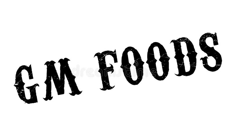 Gm Foods rubber stamp. Grunge design with dust scratches. Effects can be easily removed for a clean, crisp look. Color is easily changed stock illustration