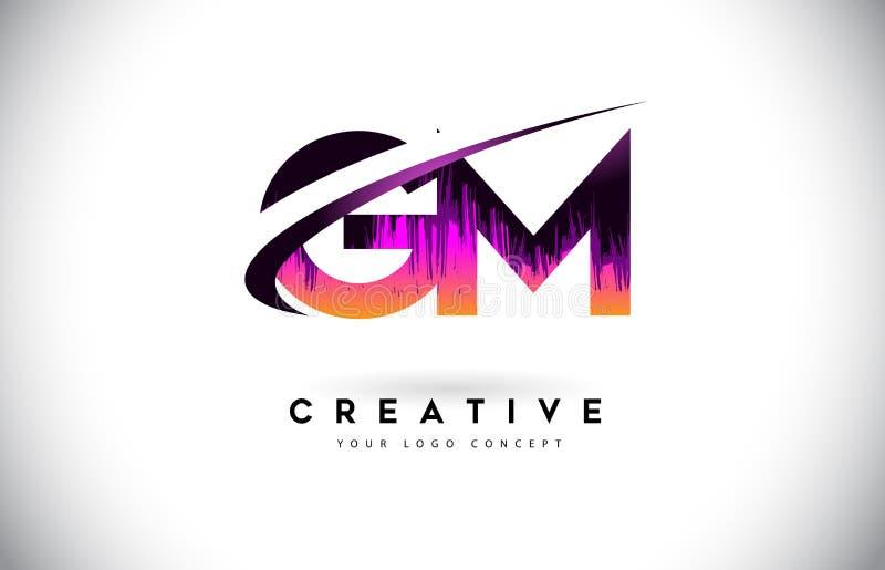 GM G M Grunge Letter Logo met Purper Trillend Kleurenontwerp Cre royalty-vrije illustratie