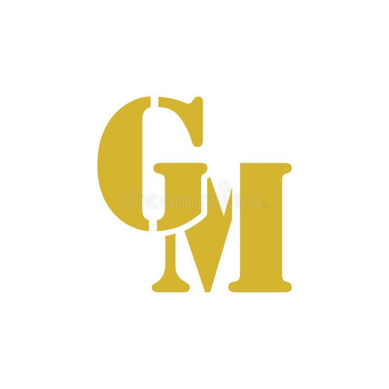 Gm-G M Letter Logo Design vektor illustrationer