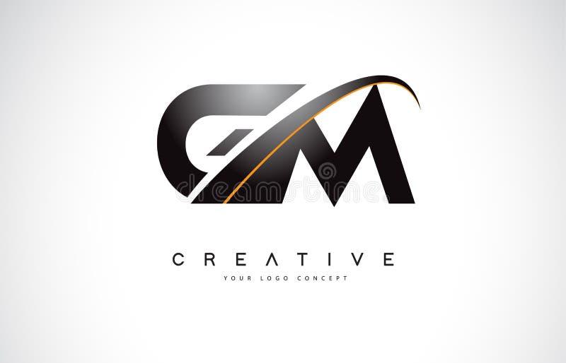 GM G M Swoosh Letter Logo Design com a curva amarela moderna do Swoosh ilustração royalty free