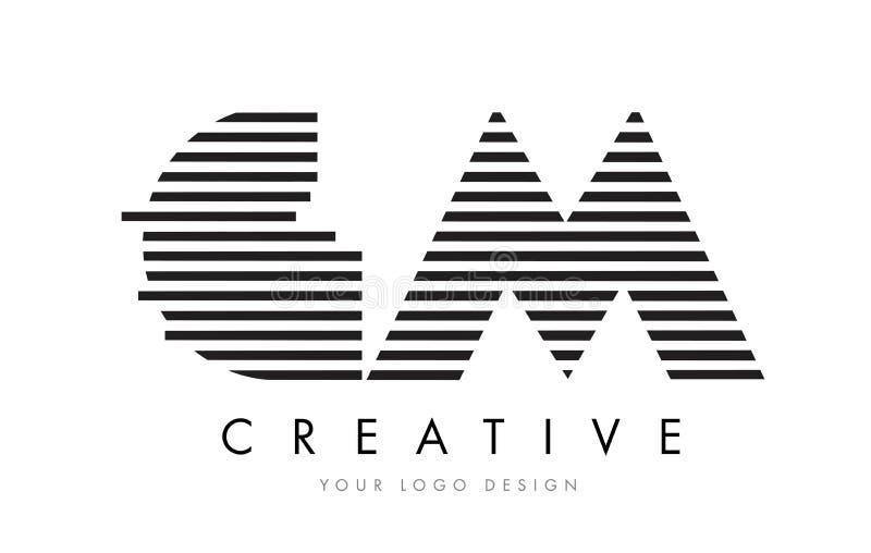 GM G M Zebra Letter Logo Design with Black and White Stripes royalty free illustration