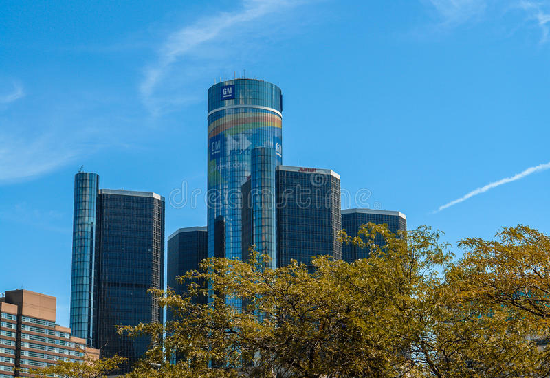 GM Renaissance Center, Rencen in Detroit, Michigan, USA stock photos