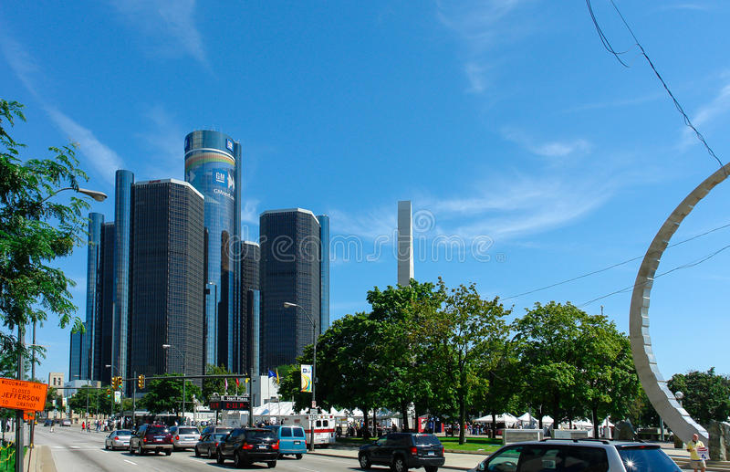GM Renaissance Center, Rencen in Detroit, Michigan, USA stock images