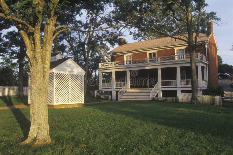 Gmach sądu, znać jako Mclean dom przy Appomattox, Virginia, miejscem poddanie i końcówką Cywilna wojna, obraz stock