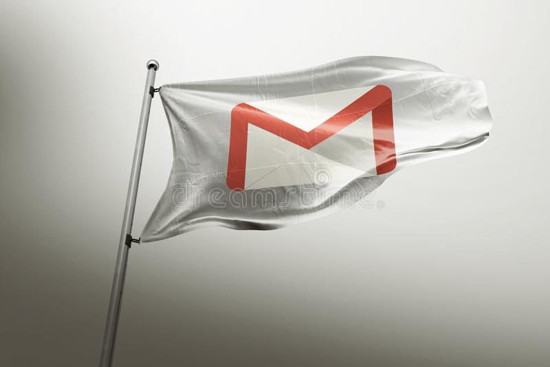 Gmail photorealistic flag editorial royalty free illustration