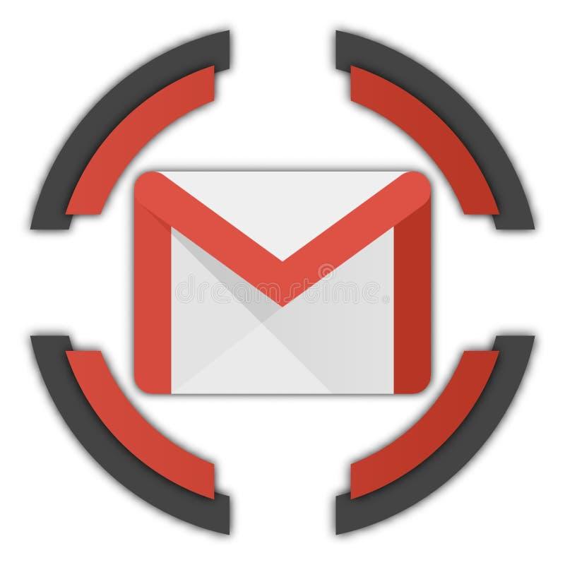 Gmail guzik royalty ilustracja