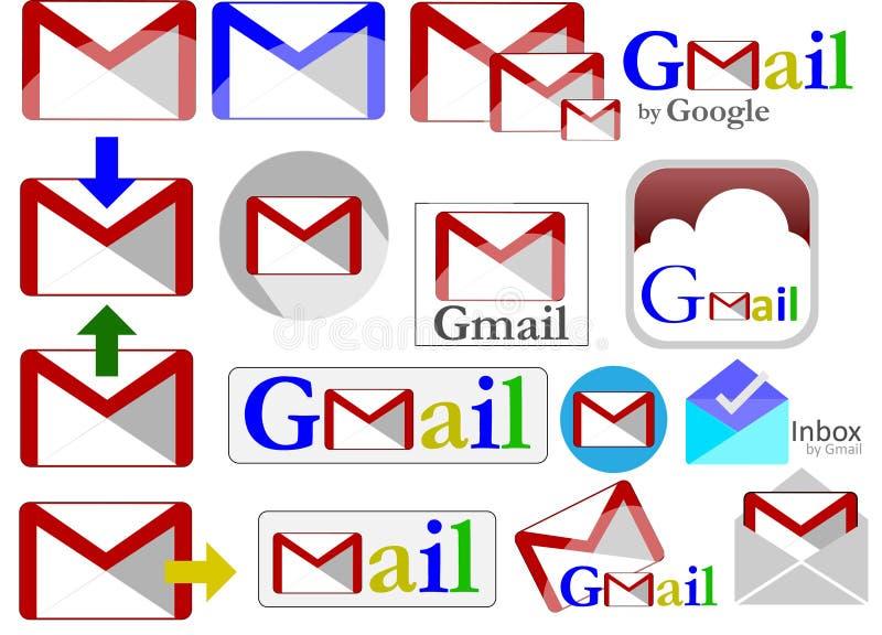 Gmail ikony Inkasowe ilustracji