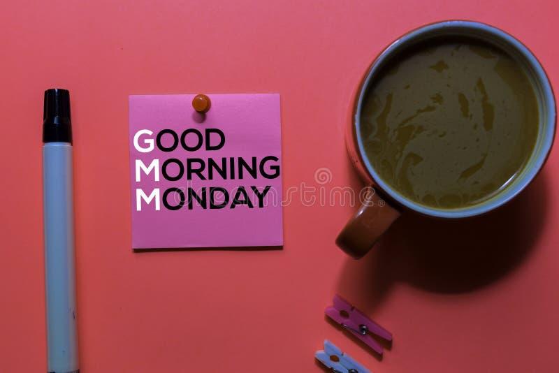 GMM. Good Morning Monday acronym on sticky notes. Office desk background royalty free stock photography