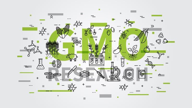 GMO badania wektorowa ilustracja z kolorowymi elementami royalty ilustracja