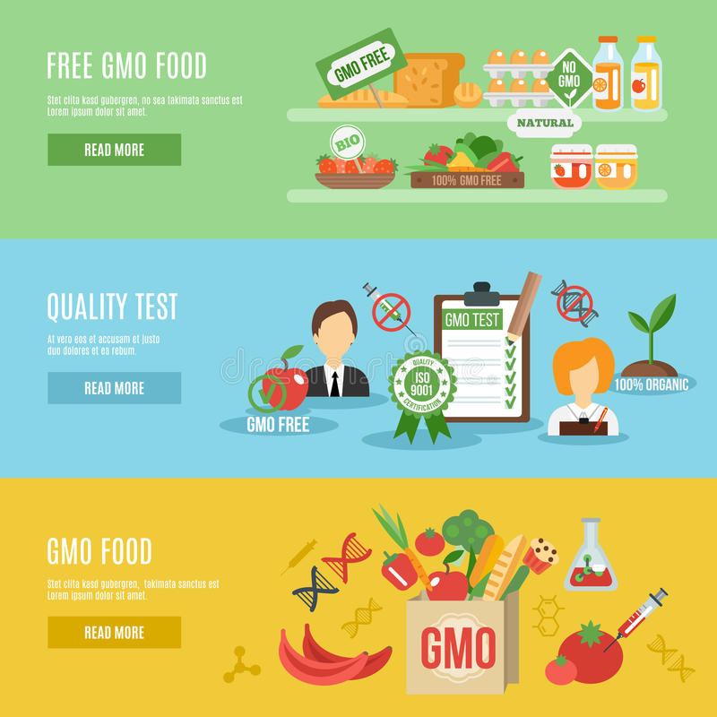 Gmo Banner Set. Gmo horizontal banner set with food quality test flat elements vector illustration royalty free illustration