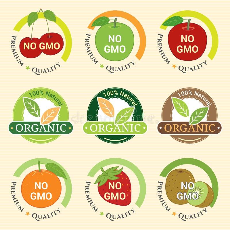GMO Bezpłatny GMO i organicznie gwaranci etykietka Non przylepia etykietkę emblemata majcheru ilustracji