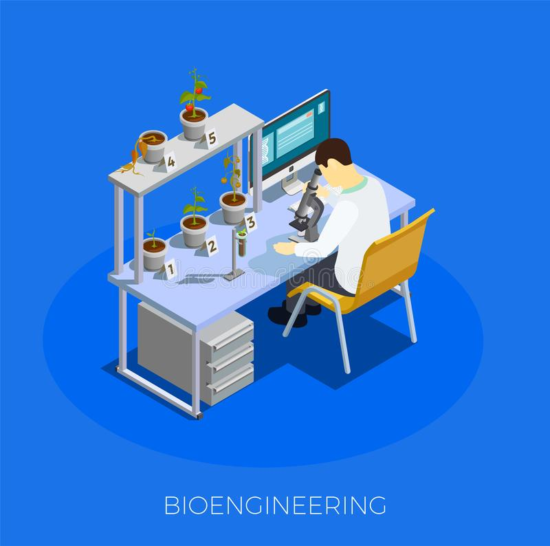 GMO Bio Engineering Isometric Composition. On blue background with scientist during work with tomato samples vector illustration vector illustration
