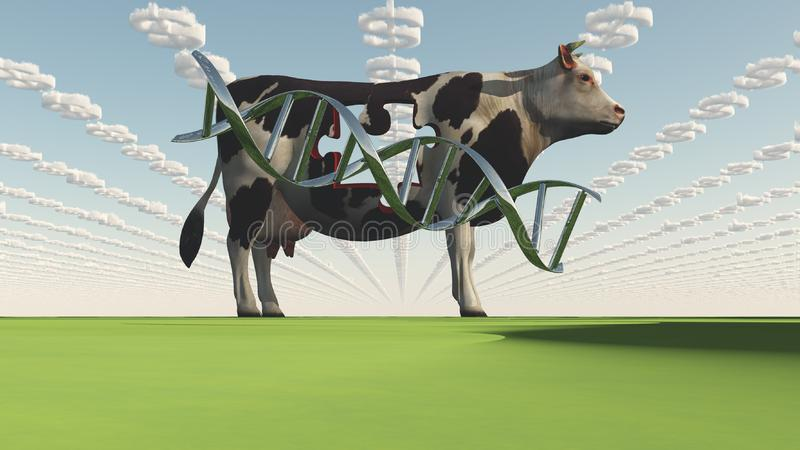 GMO Business Cow. GMO Business. Cow and DNA strand royalty free illustration