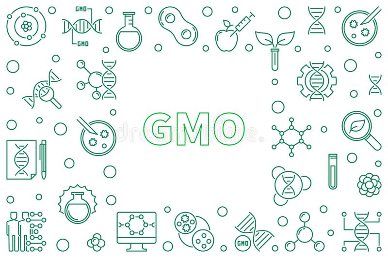 GMO concept horizontal frame - vector outline illustration. GMO concept horizontal frame - vector genetically modified organism illustration in thin line style stock illustration