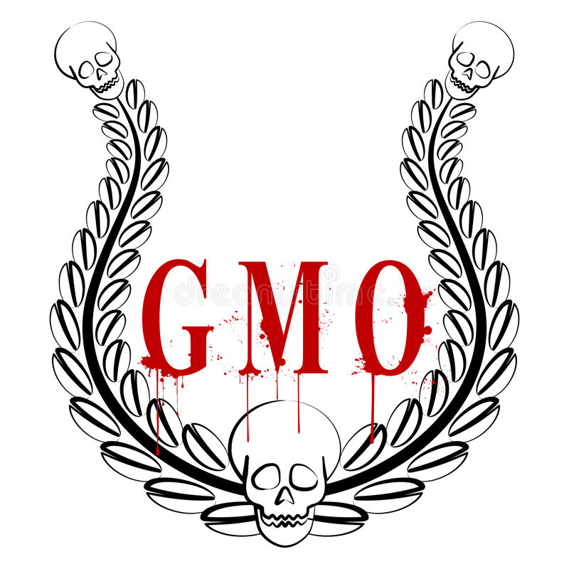 GMO emblem. Illustration of genetically modified organisms as a real threat to the future of the world royalty free illustration