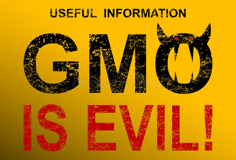GMO is evil. Illustration of genetically modified organisms as a real threat to the future of the world royalty free illustration