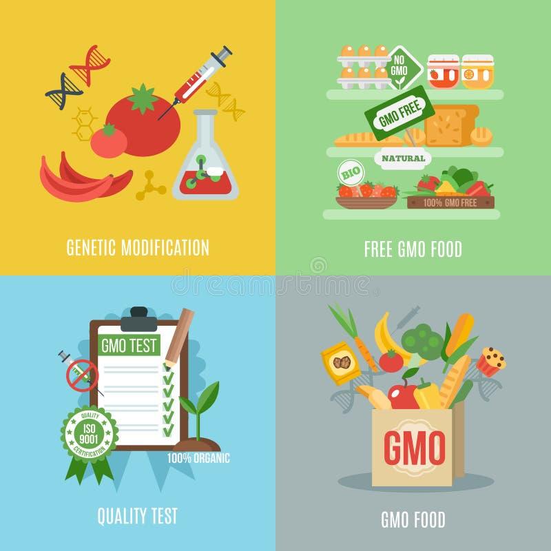 Gmo Flat Set. Gmo design concept set with food genetic modification flat icons isolated vector illustration stock illustration