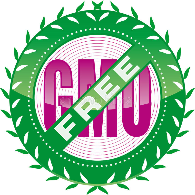 GMO-free. Vector editable GMO free sign stock illustration