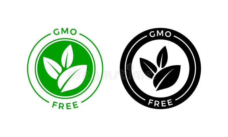 GMO free icon. Vector green non GMO label sign. GMO free icon. Vector green leaf non GMO logo sign for healthy food package label design stock illustration