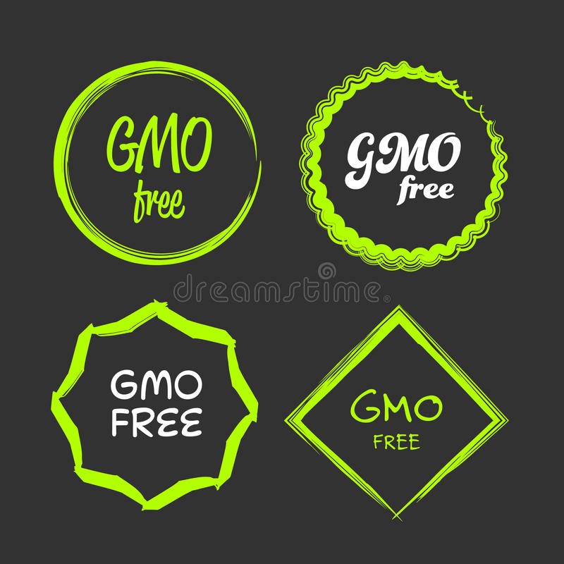 Gmo free sign. Gmo free green and white vector sign logo symbol stock illustration