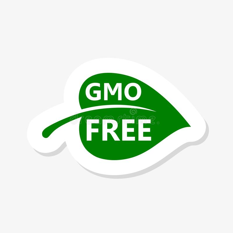 GMO free sticker icon. Green leaf non GMO logo sign for healthy food package label design vector illustration