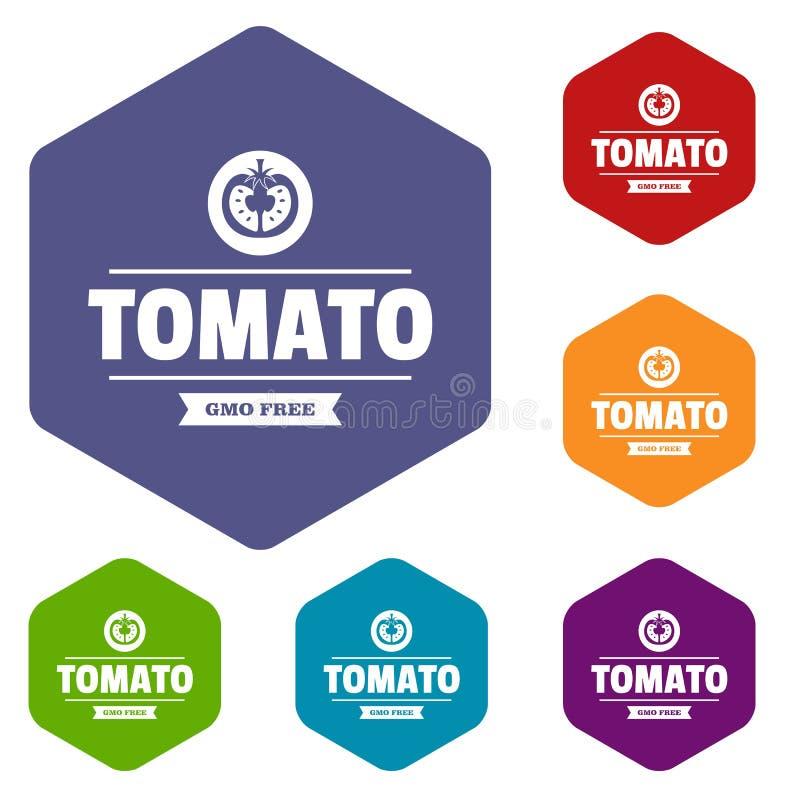 Gmo free tomato icons vector hexahedron vector illustration