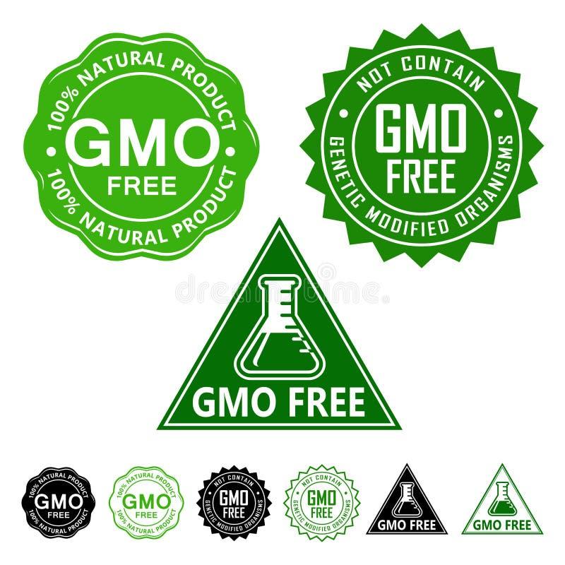 GMO fria skyddsremsasymboler royaltyfri illustrationer