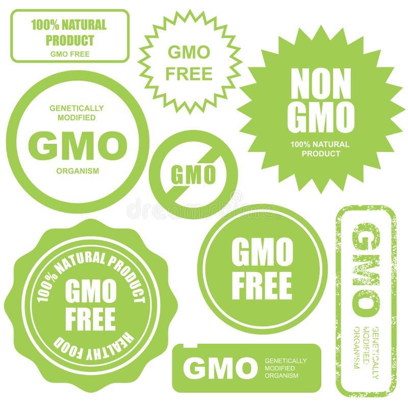 GMO fria stämplar, klistermärkear och etiketter royaltyfri illustrationer
