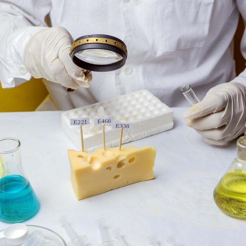 GMO Genetically modified food in lab concept. lab assistant Food safety laboratory procedure, analysing fruits from the market. Close up royalty free stock photography