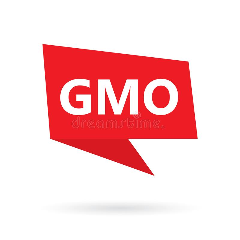 GMO Genetically Modified Organisms word on a speach bubble. Vector illustration royalty free illustration