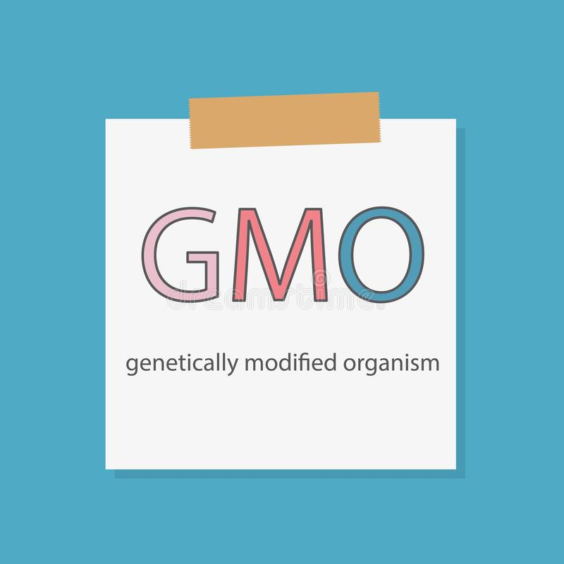 GMO Genetically Modified Organisms written in a notebook paper. Vector illustration royalty free illustration