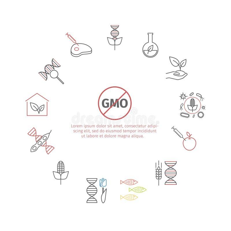 Gmo Genetisch gewijzigd organisme Geplaatste lijnpictogrammen Vectortekens stock illustratie