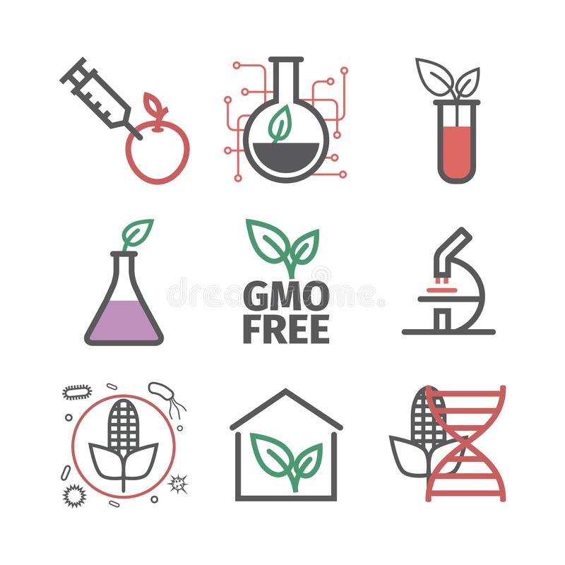 Gmo genetiskt ändrad organism Linje symbolsuppsättning Vektortecken för rengöringsdukdiagram royaltyfri illustrationer