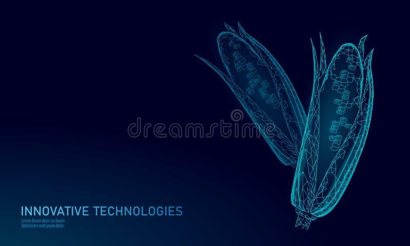 GMO-graangen gewijzigde installatie Van de de biologiegenetica van de wetenschapschemie van de de techniekinnovatie 3D technologi stock illustratie
