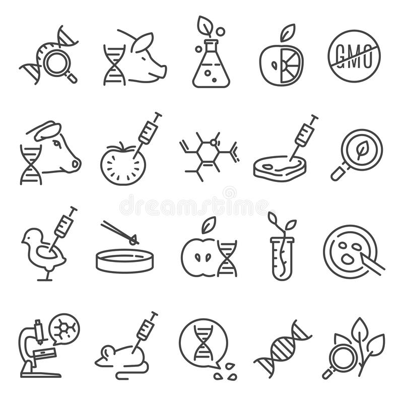 Gmo icon set. Genetically modified organism altered by means of genetic engineering, organisms created in a laboratory. Vector line art illustration isolated stock illustration