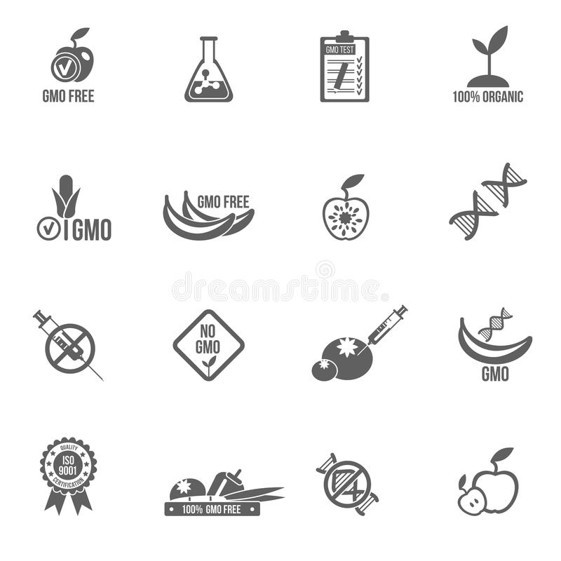 Gmo Icons Set. Gmo icons black set with healthy agriculture genetic danger symbols isolated vector illustration vector illustration