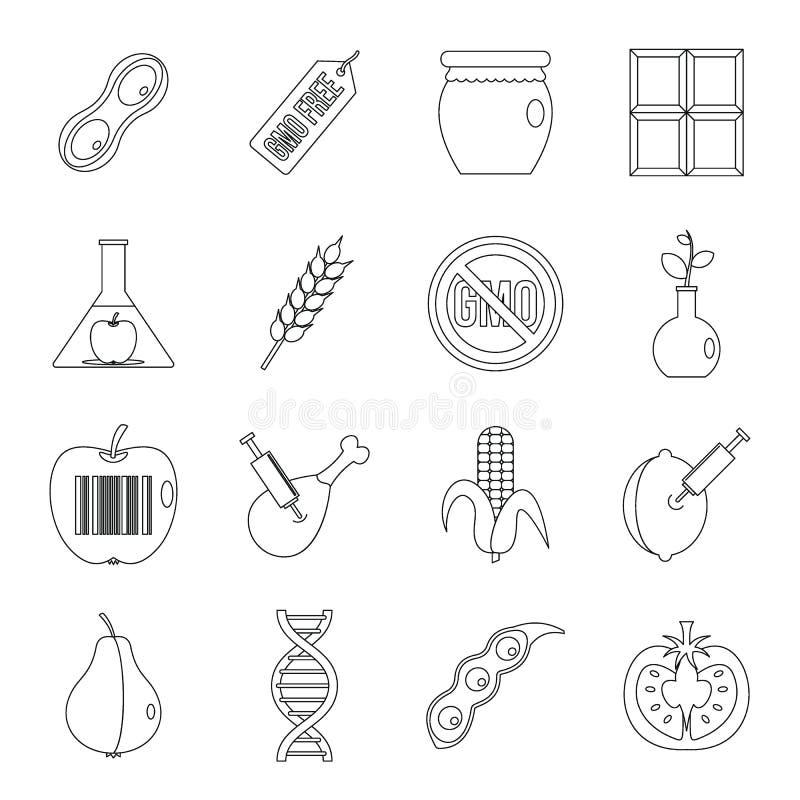 GMO-Ikonen stellten Lebensmittel, Entwurfsart ein stock abbildung