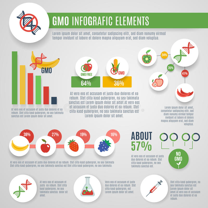 Gmo Infographics Set. With nanotechnology laboratory food elements and charts vector illustration stock illustration