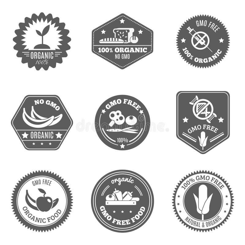 Gmo Label Black. Gmo free organic farmer food label black set isolated vector illustration royalty free illustration