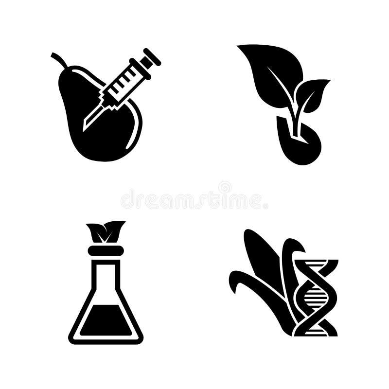 GMO, modifica del DNA Icone relative semplici di vettore royalty illustrazione gratis