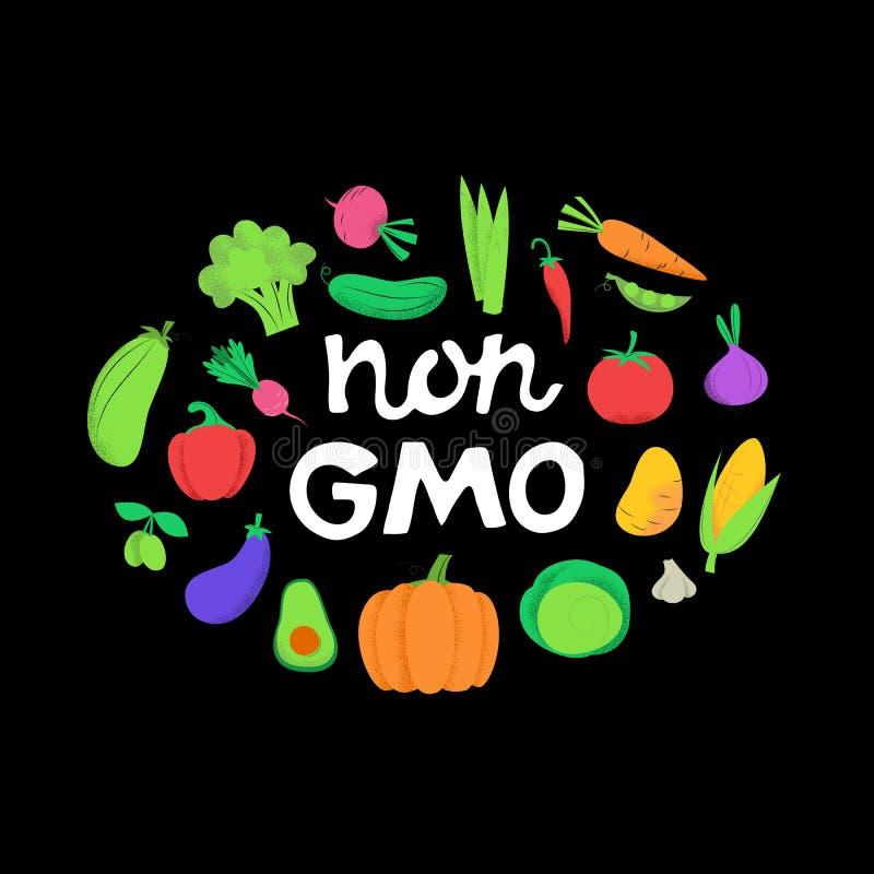 Gmo niet banner met groenten op zwarte achtergrond vector illustratie