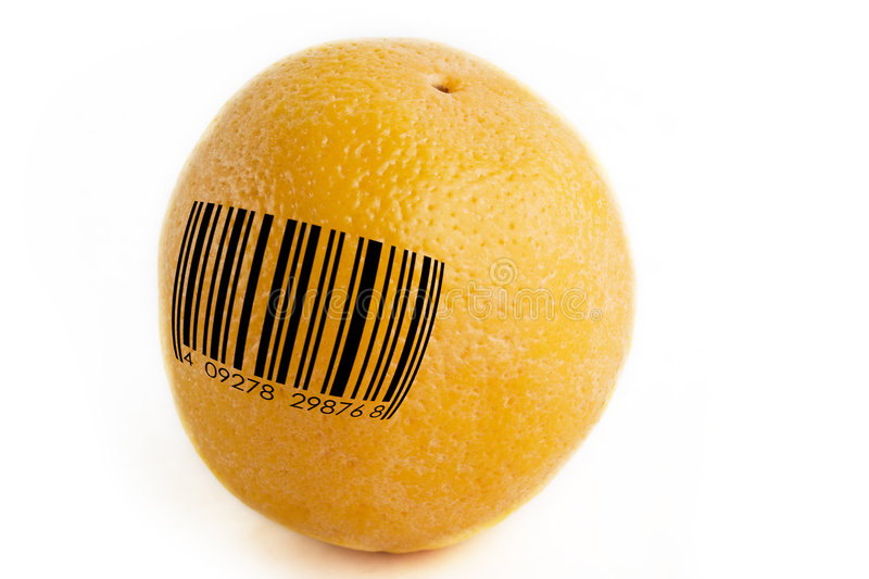 GMO Orange. An orange with a standard bar code, concept image for GMO, or mass produced food stock photography