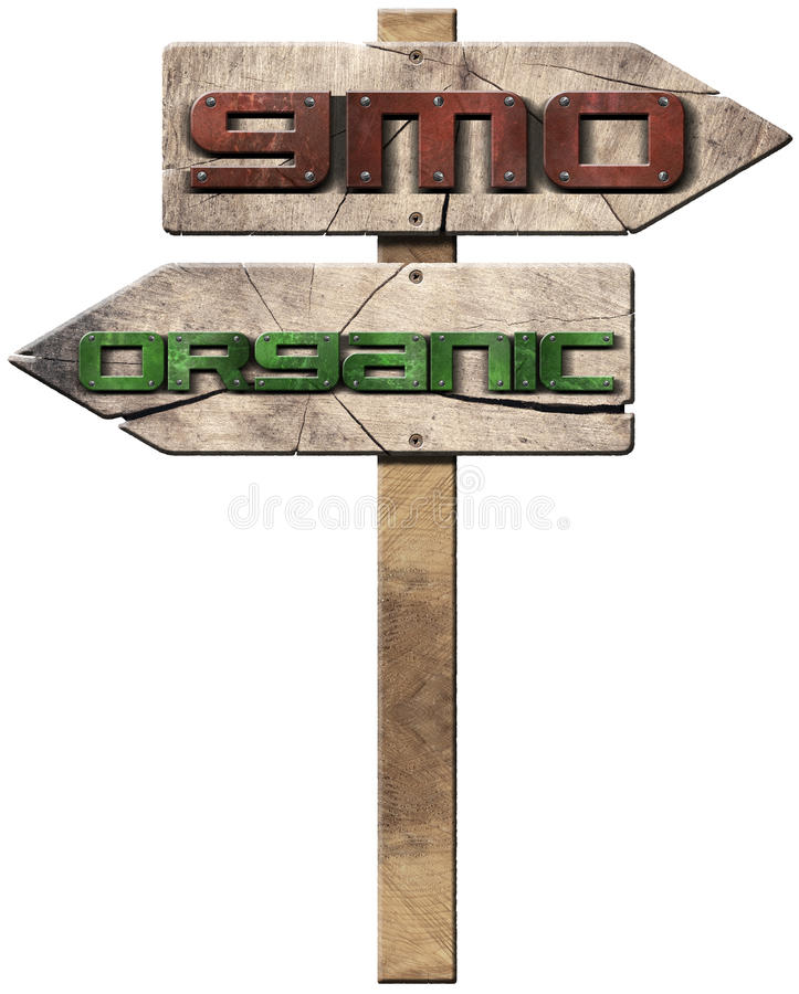GMO and Organic - Wooden Directional Signs. 3D illustration of two wooden directional signs with text GMO genetically modified organism and Organic isolated on vector illustration