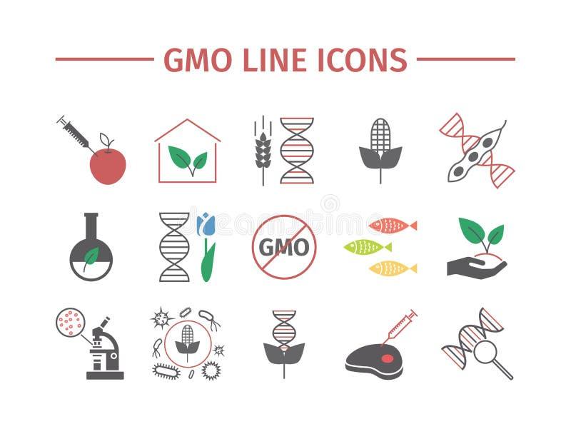 Gmo Organismo genético modificado Iconos planos fijados Muestras del vector stock de ilustración