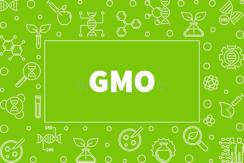 GMO outline horizontal frame. Vector concept illustration. GMO horizontal frame in thin line style. Vector Genetically Modified Organism concept illustration royalty free illustration
