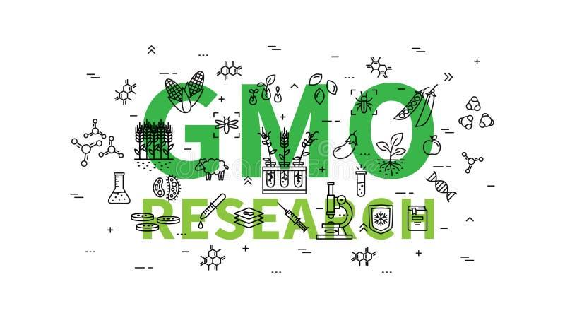 GMO research vector illustration. Genetically modified organism GMO line art concept vector illustration