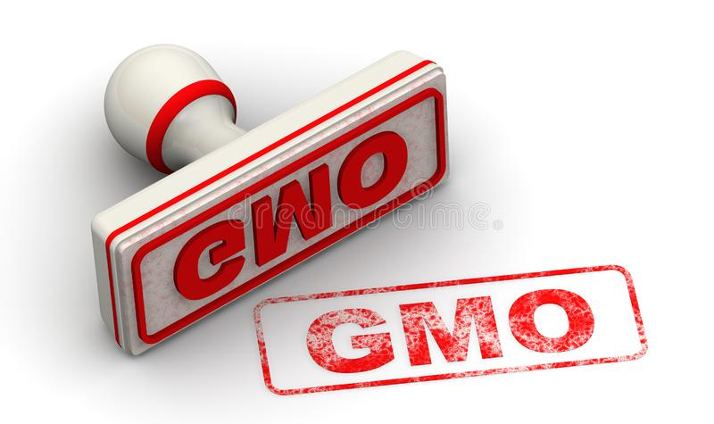 GMO. Seal and imprint. Red seal and imprint GMO Genetically Modified Organism on white surface. Isolated. 3D Illustration vector illustration