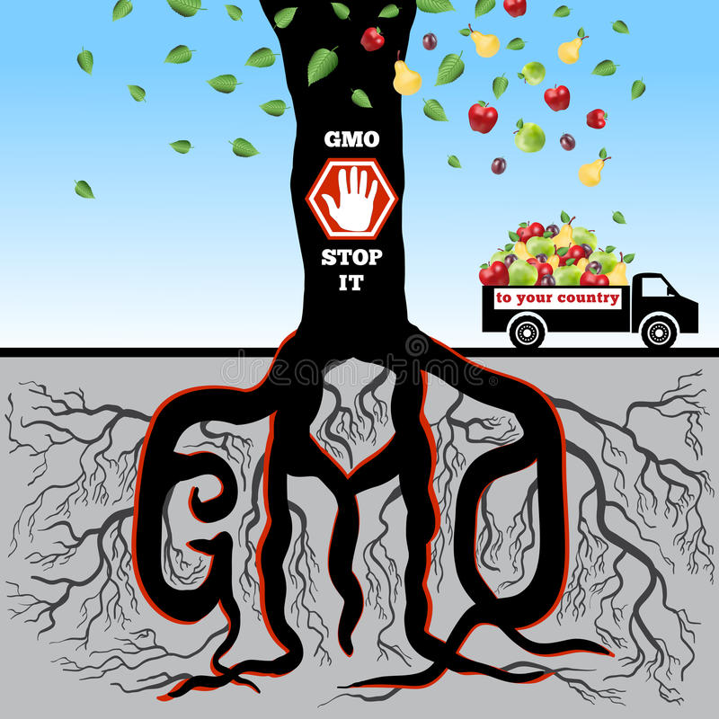 GMO (stop it). GMO. The poster (advertizing) devoted to a problem of genetically modified products vector illustration