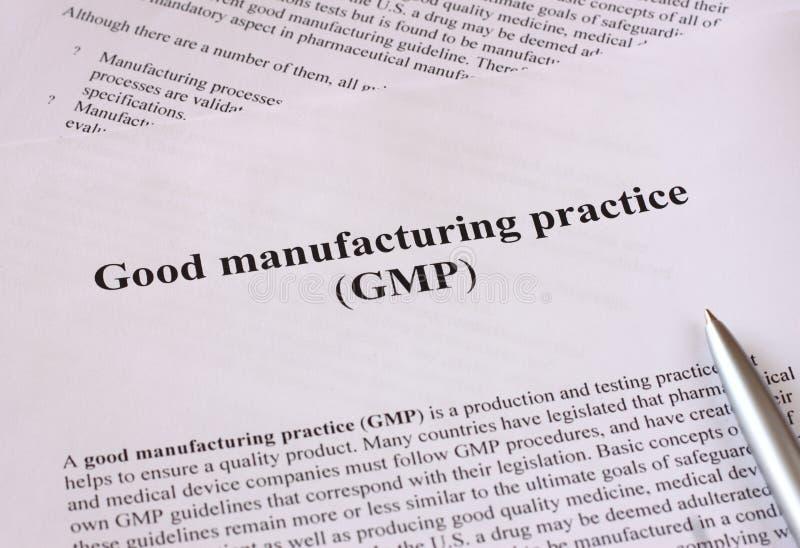 GMP -用于生产和测试合格品的好的制造业实践 库存照片