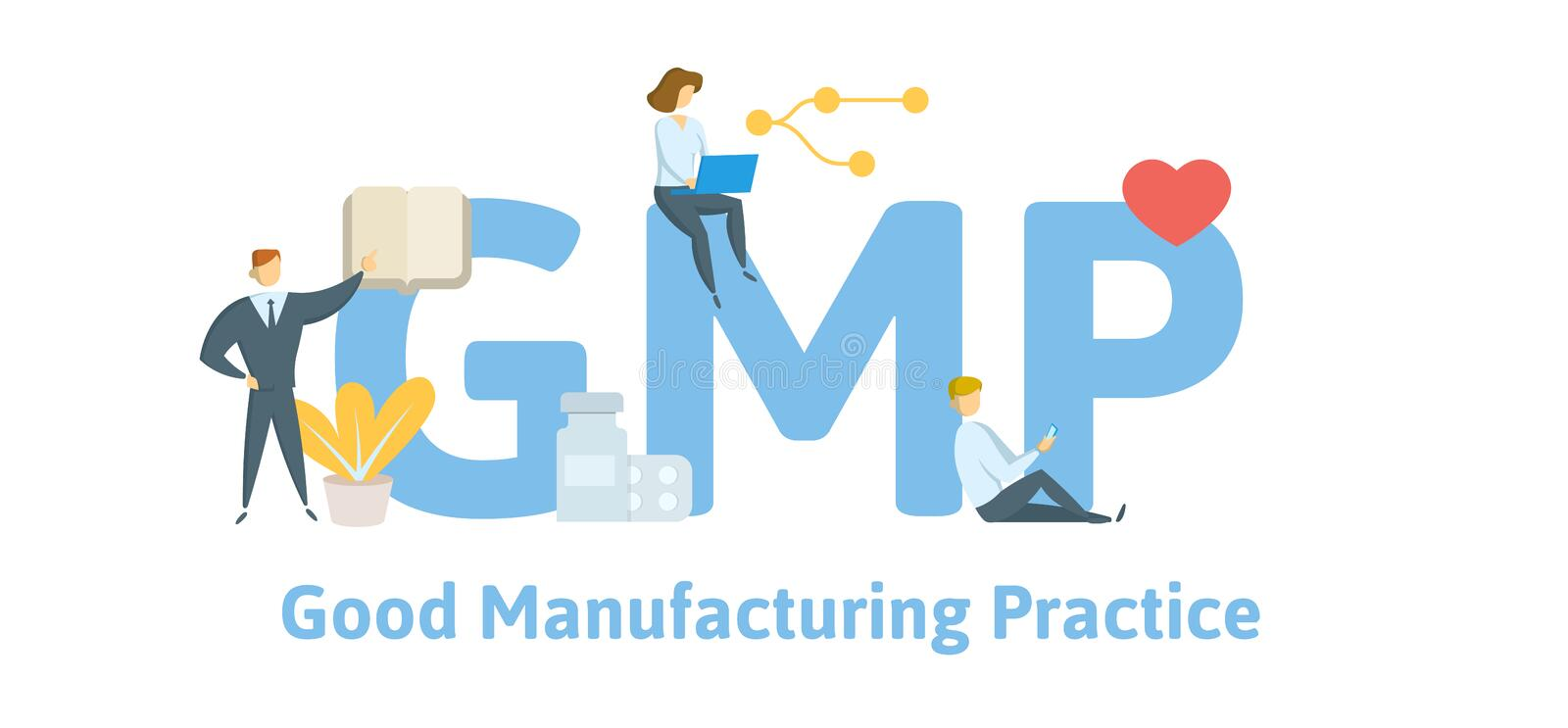 GMP, Good Manufacturing Practice. Concept with keywords, letters and icons. Flat vector illustration. Isolated on white. GMP, Good Manufacturing Practice stock illustration